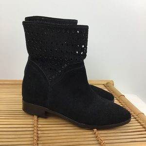 MICHAEL KORS Black Suede Sunny Ankle Bootie